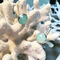 Aqua Silver Earrings Circular Pattern, Silver