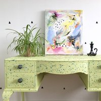 Vintage Painted Desk Sideboard Textured