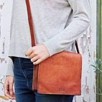 Personalised Small Brown Leather Messenger Bag