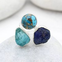 Apatite, Opal And Azurite Adjustable Silver Ring, Silver