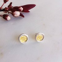Silver And Gold Petal Stud Earrings, Silver