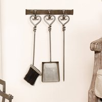 Pewter Heart Wall Mounted Fireside Companion Tool Set