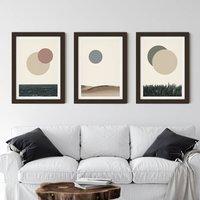 Nature Eclipse Print Set Minimal Abstract Wall Art