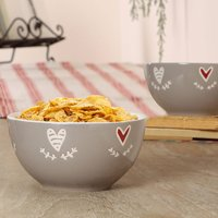 Set Of Four Country Heart Cereal Bowls