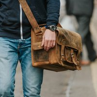 Personalised Weekender Leather Satchel Bag