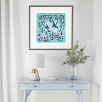 Birds, Flowers And Stars Bright Chinoiserie Print