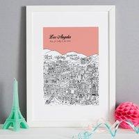 Personalised Los Angeles Print, Melon/Blush/Violet