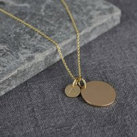 Solid Gold Large And Small Disc Initial Necklace, Gold
