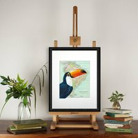 Toucan Bird On South America Map Limited Edition Print