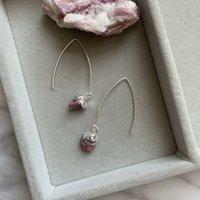 Pink Tourmaline October Birthstone Dropper Earrings