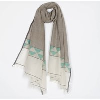 Handwoven Cotton/Wool Scarf With Geometric Border