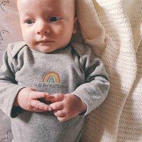 Organic Grey Embroidered Rainbow Baby Bodysuit
