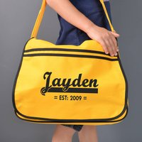 Personalised Yellow Retro Messenger Bag