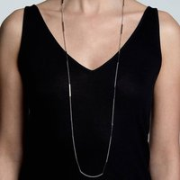 Sterling Silver And 18ct Gold Vermeil Long Caj Necklace, Silver