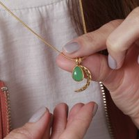 18ct Gold Vermeil Crescent Moon Gemstone Charm Necklace, Gold