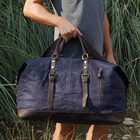 Zip Detail Waxed Canvas And Leather Holdall