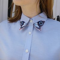 Hand Embroidered Butterfly Statement Collar Shirt