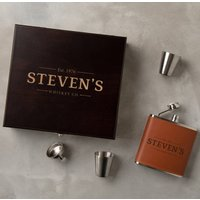 Personalised Vegan Leather Hip Flask Gift Set For Men