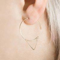 Rose Gold Spike Hoop Earrings, Gold