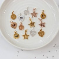 Sterling Silver, Rose Gold Or Gold Vermeil Number Charm, Silver