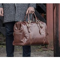 Personalised Leather Gladstone Bag. The Gassano, Chestnut/Tan/Dark Chocolate