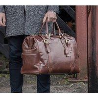 Personalised Leather Gladstone Bag. The Gassano, Chestnut/Tan/Dark Chocolate