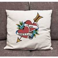 Personalised Heart Tattoo Cushion Cover