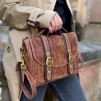 Two Tone Brown Leather Cleo Handbag