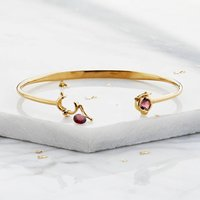 Gold Or Silver Personalised Gemstone Blessings Bangle, Silver