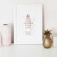 Personalised 'Happily Ever After' Botanical Foil Print, Gold/Copper/Rose Gold