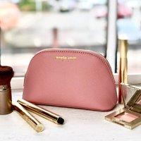 Vegan Leather Pink Make Up Bag Fs