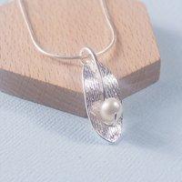 Silver Leaf Pearl Pendant, Silver