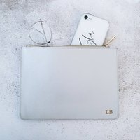 Personalised Leather Clutch Bag In Grey