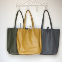 Mustard Olive Or Grey Leather Tote Shopper
