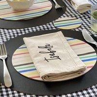 Placemat And Coaster Set Recycled Leather Hand Painted
