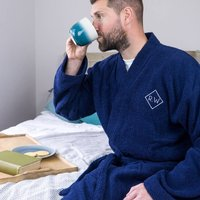 Embroidered Monogram Towelling Mens Bath Robe