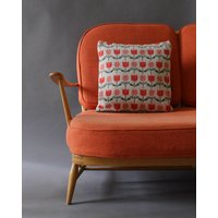 Tulips And Daisys Cushion In Knitted Lambswool, Grey/Blue