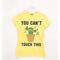 You Can't Touch This Cactus Women's Slogan T Shirt, Yellow/White/Grey