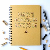 Personalised Homework Notebook Army Print