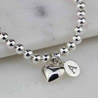 Personalised Children's Silver Heart Bracelet, Silver