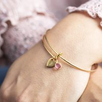Personalised Heart Of Gold Birthstone Bangle, Gold