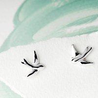 Swallow Silver Stud Earrings On A Gift Card, Silver