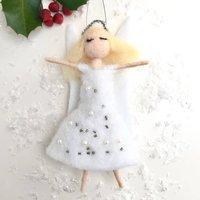 Felt Angel Sparkle Dress Hanging Decoration