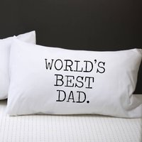 Worlds Best Dad Pillow Case, Purple/Sky Blue/Blue