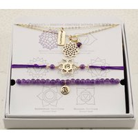 Crown Chakra Jewellery Set In Gold Or Silver, Silver