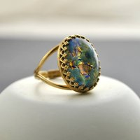 Green And Blue Fire Opal Ring, Blue