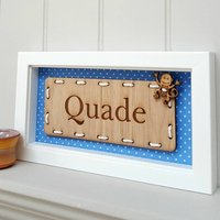 Personalised Baby Boy's Name Oak Artwork