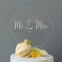 Mr And Mrs Cake Topper, Clear Acrylic