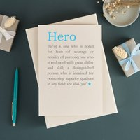Personalised Hero Definition Fathers Day Card