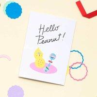 Funny Hello Peanut New Baby Card